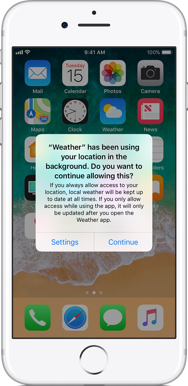 A picture showing how iOS alerts users to background location usage